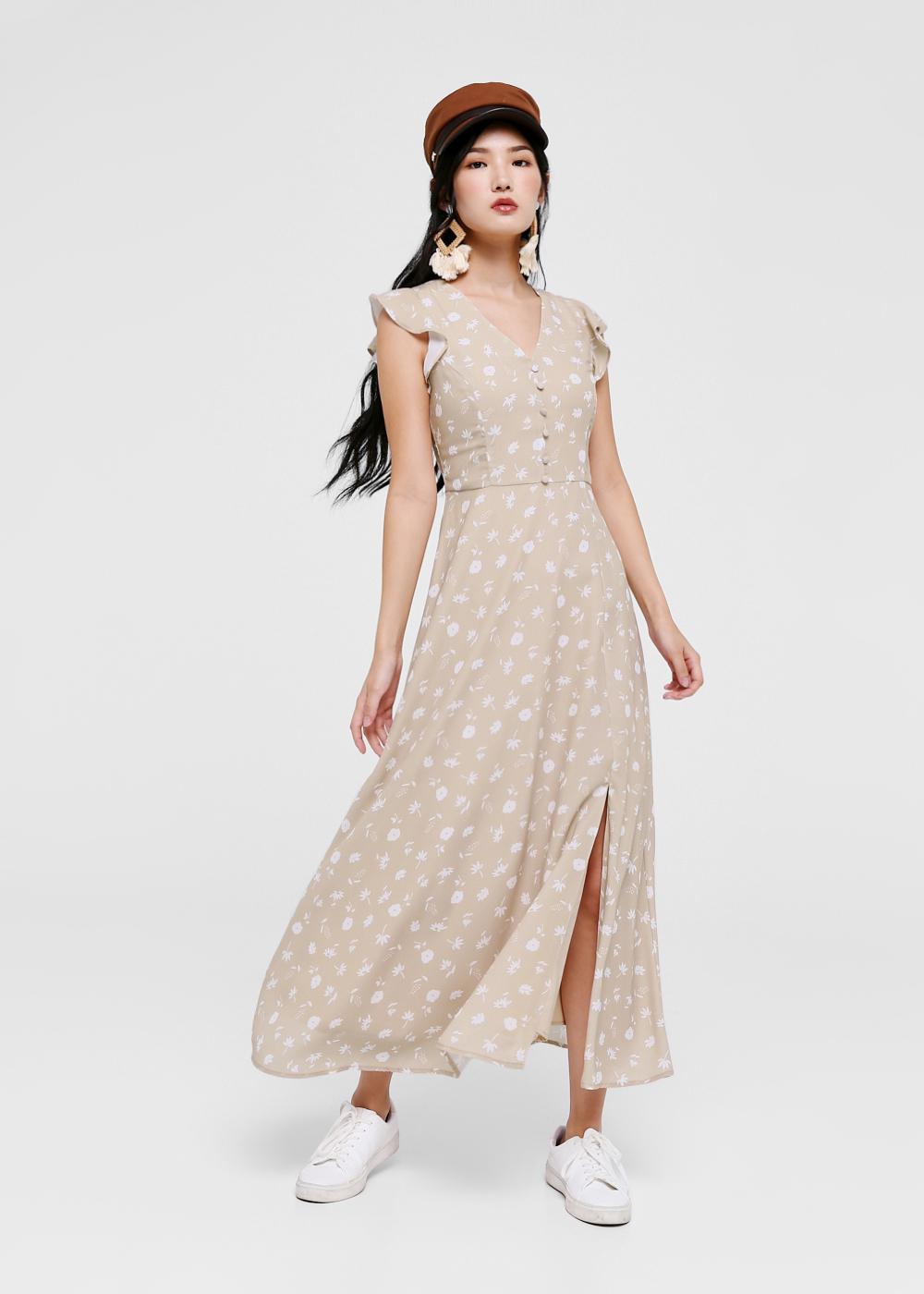 Catherine Printed Ruffle Sleeve Maxi Dress