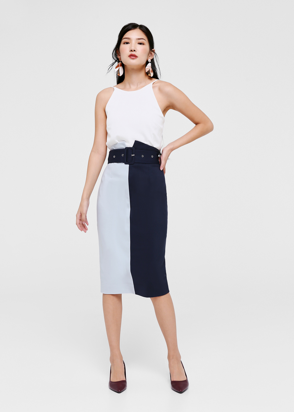 Nadette Colour Block Pencil Skirt