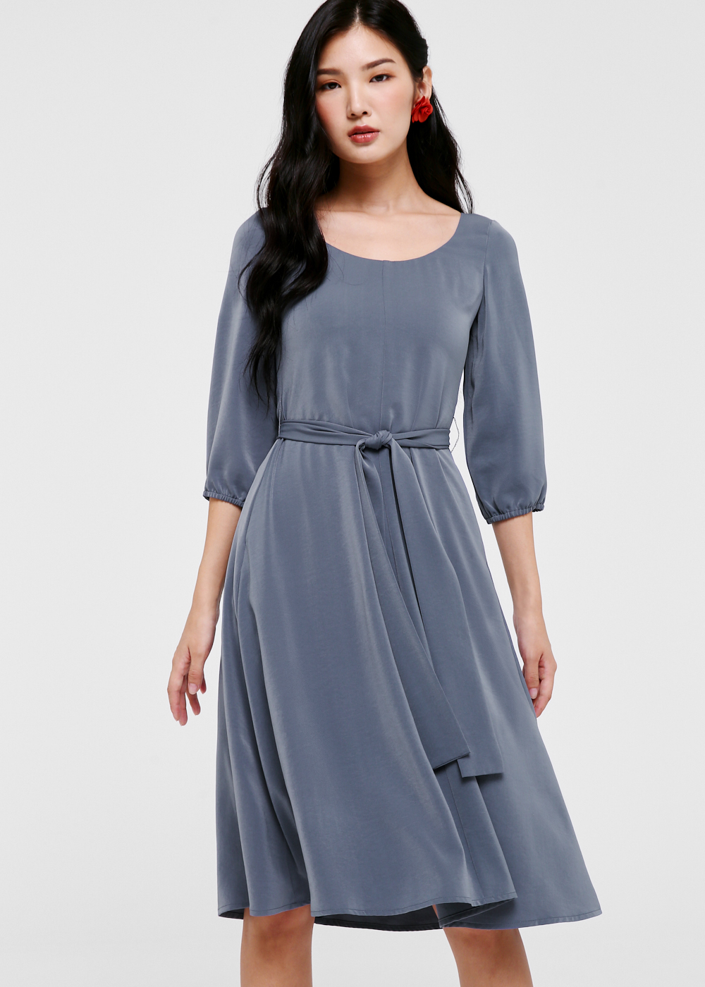 Leandrew Puff Sleeve Midi Dress