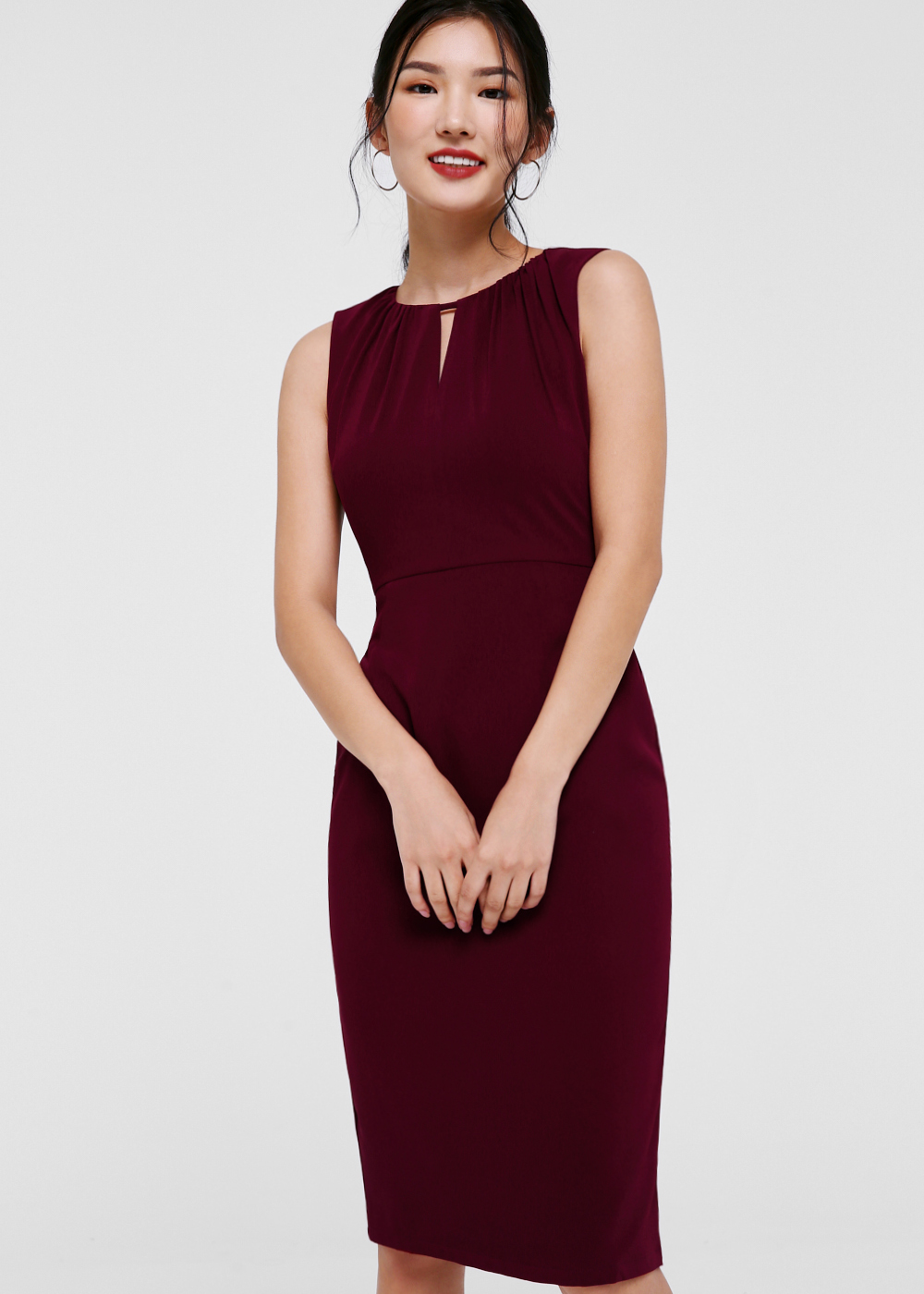 Michaela Keyhole Neck Midi Dress