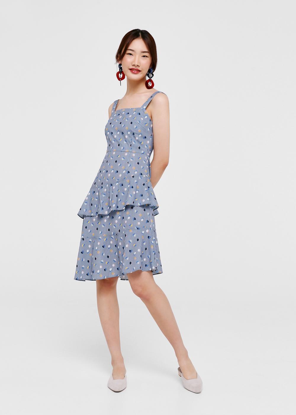 Remi Printed Asymmetrical Hem Dress