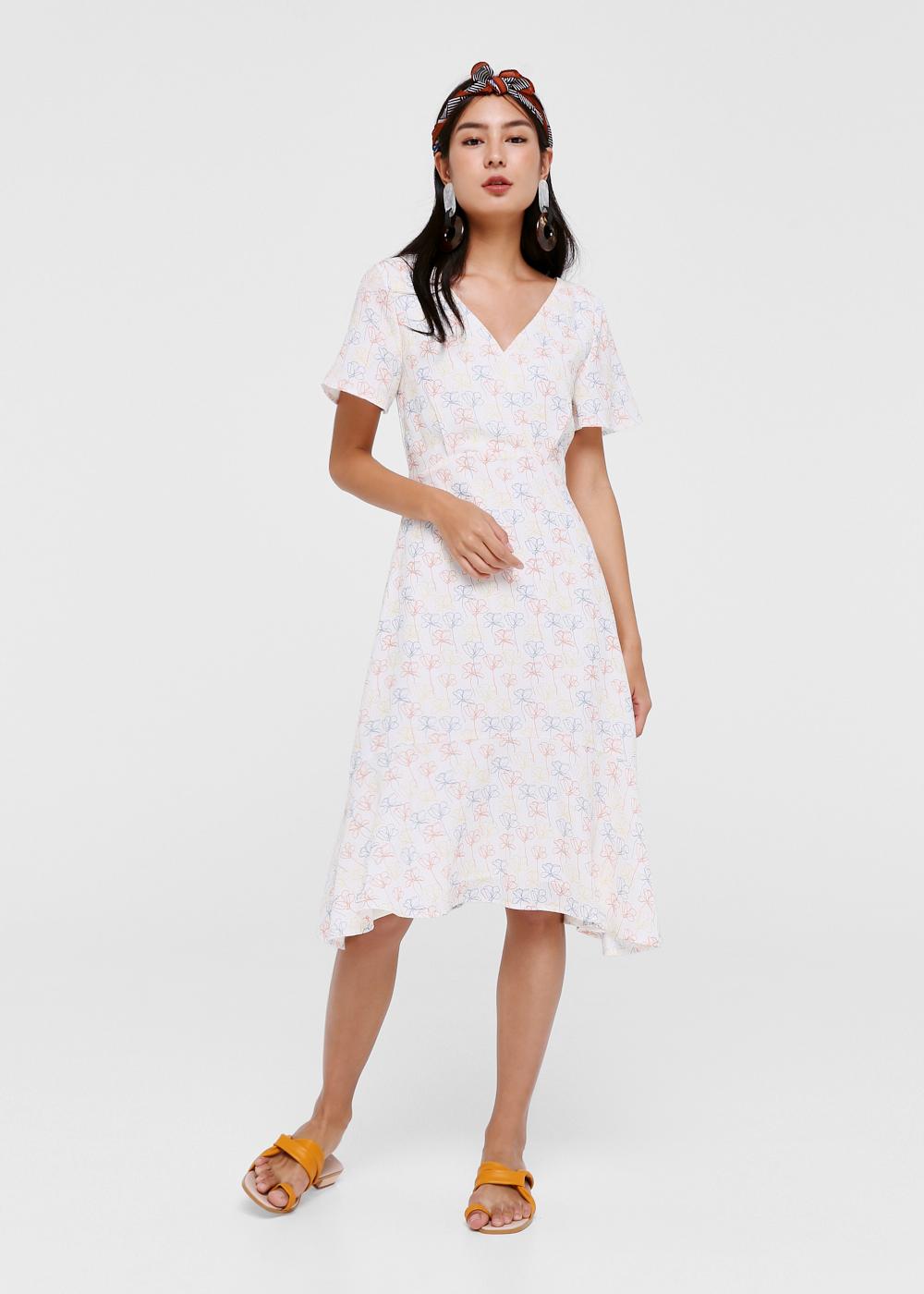 Zenia Printed Flutter Sleeve Midi Dress