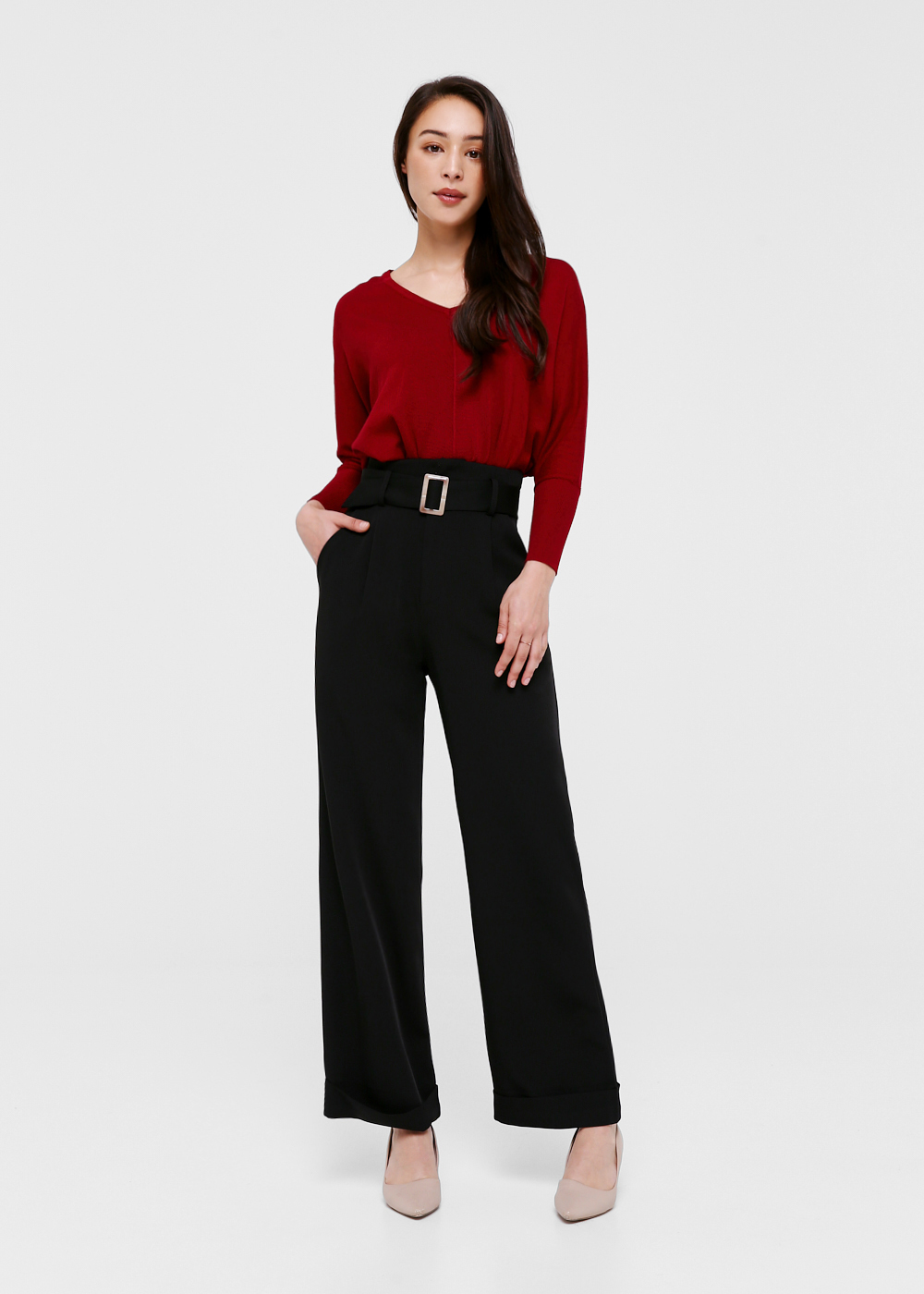 Anella Belted Wide Leg Pants