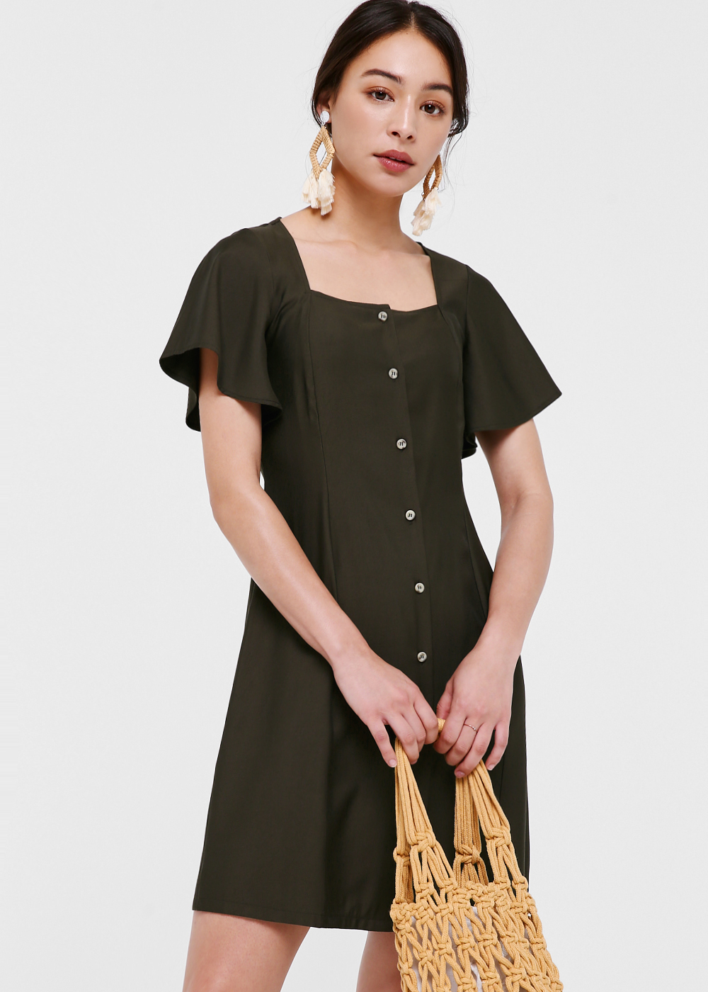 Maven Button Down Flutter Sleeve Dress