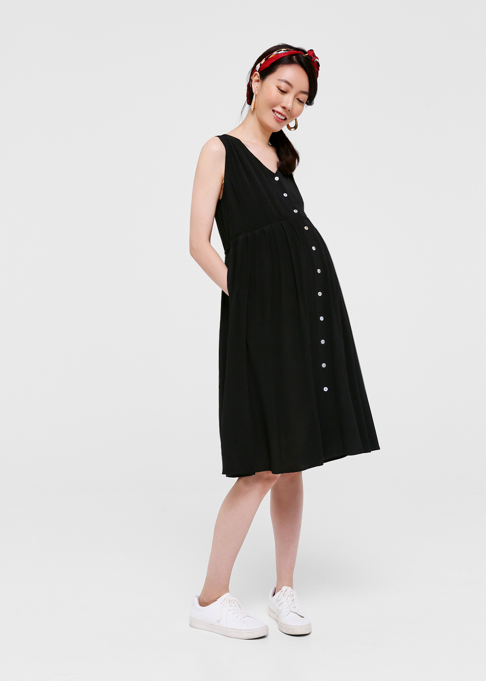 Esly Pleated Button Down Dress