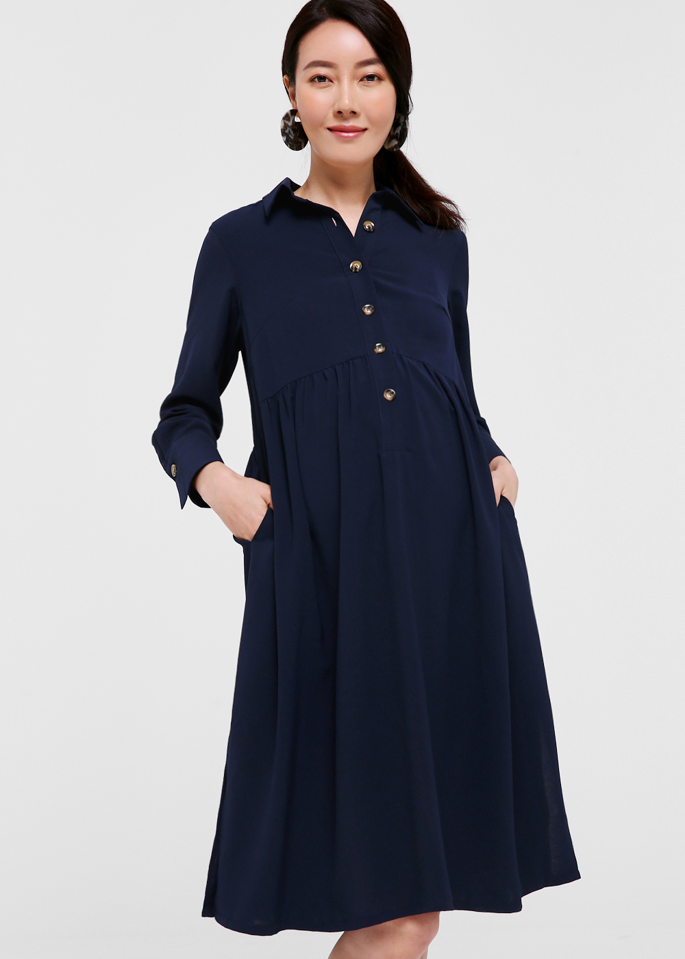 Faina Button Front Shirt Dress