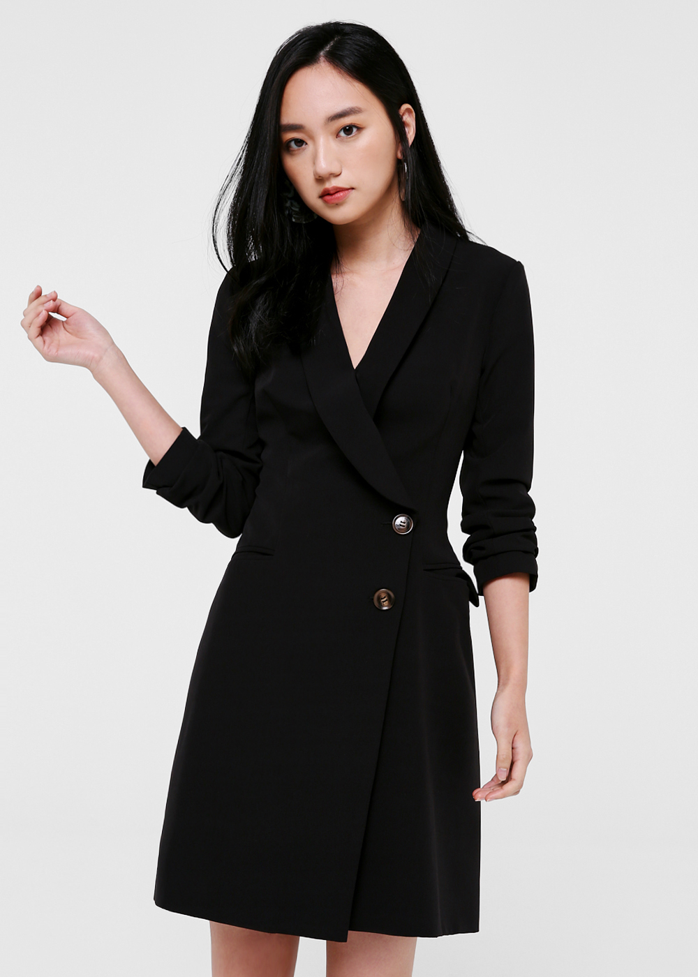 Mariah Button Front Tuxedo Dress