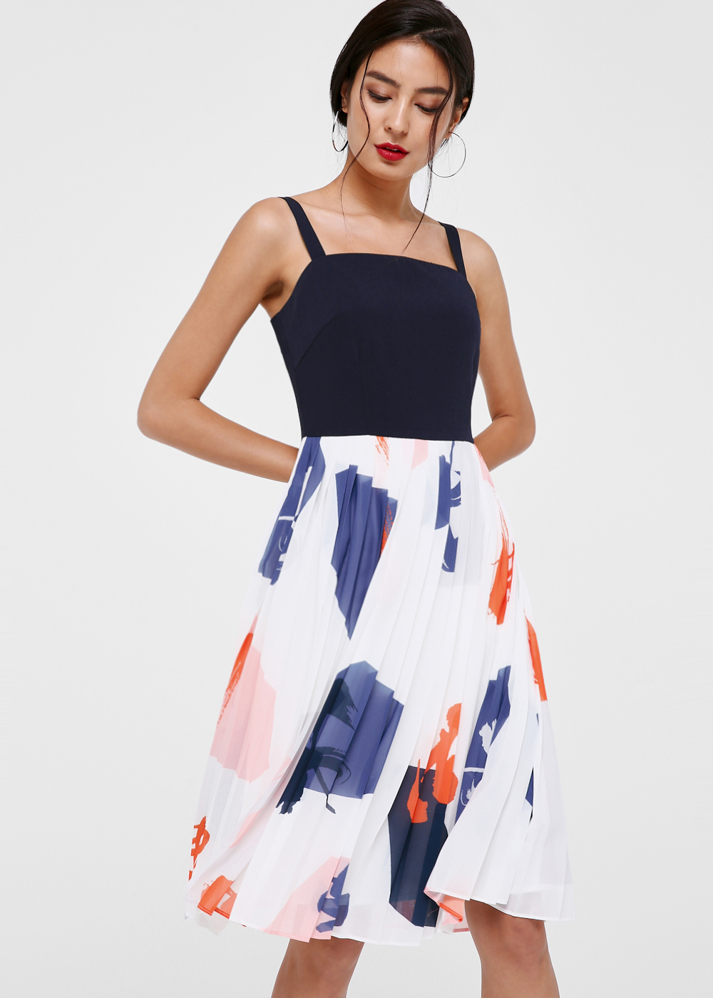 Briella Printed Pleat Dress in Artful Zest
