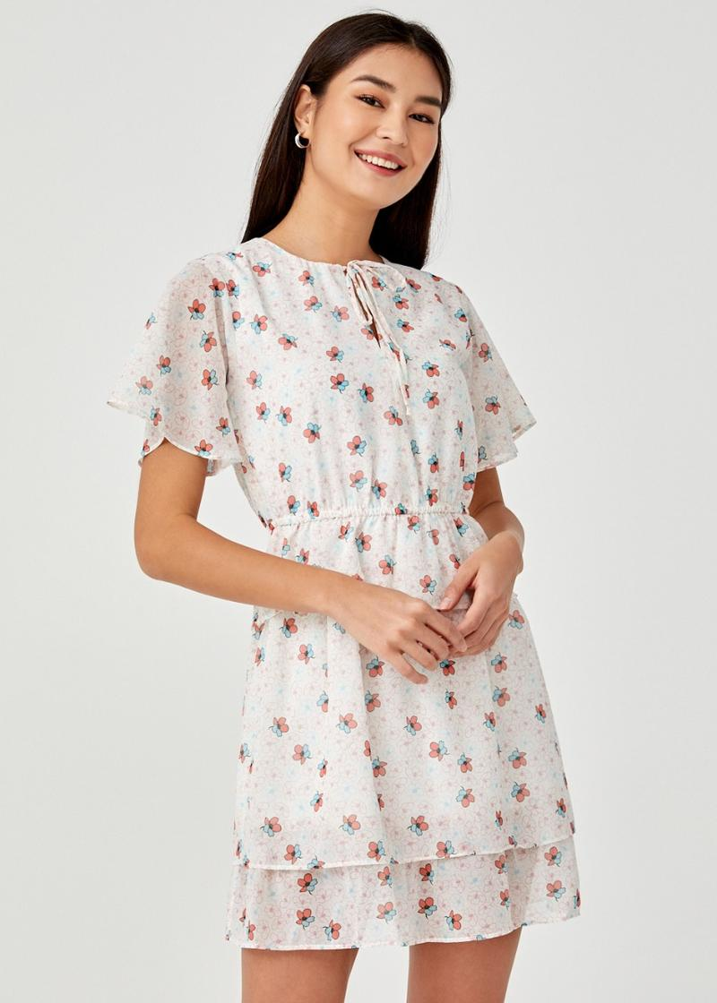 Luella Drawstring Tiered Ruffle Hem Dress in Daisy Dreams