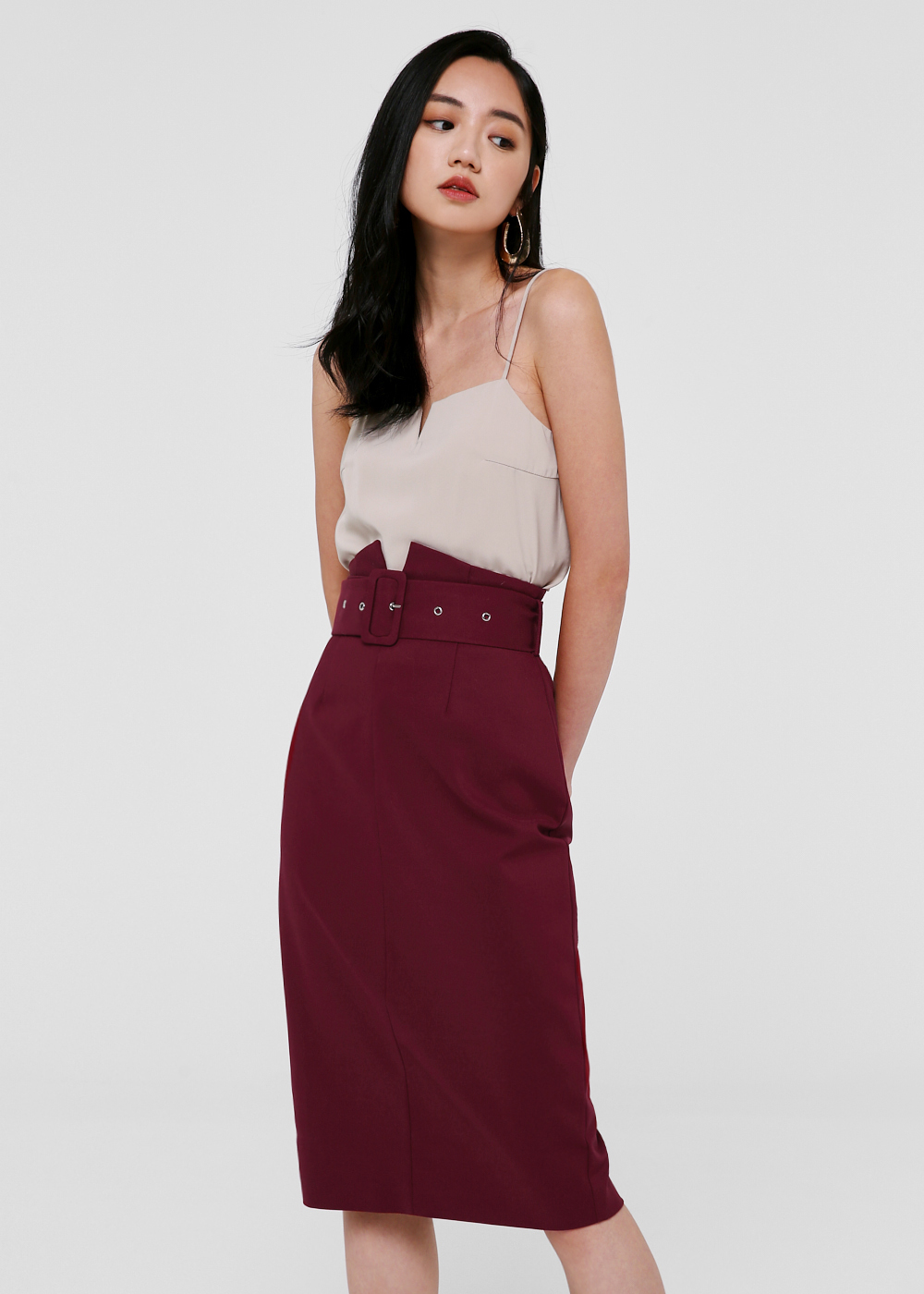 Nadeen Belted Pencil Skirt