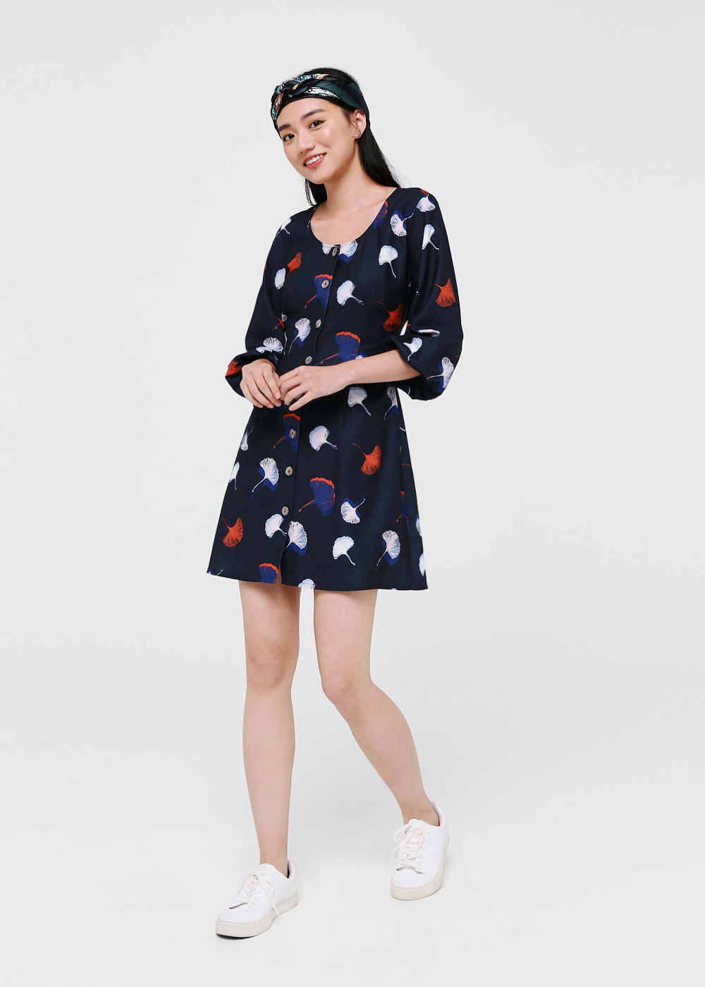 Uri Printed Balloon Sleeve Dress