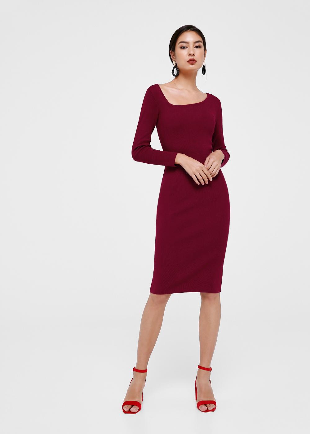 Millie Asymmetrical Neckline Bodycon Dress