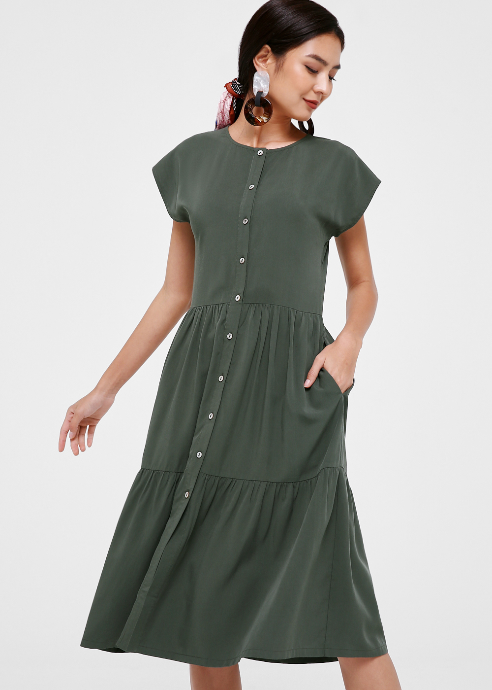Adelynn Cap Sleeve Button Down Dress