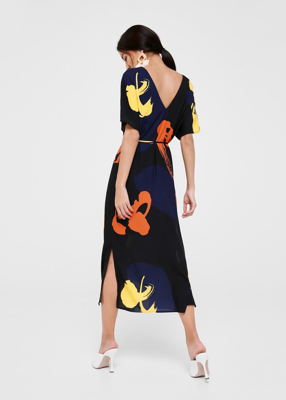 Everleigh Printed V-neck Maxi Dress in Artful Zest