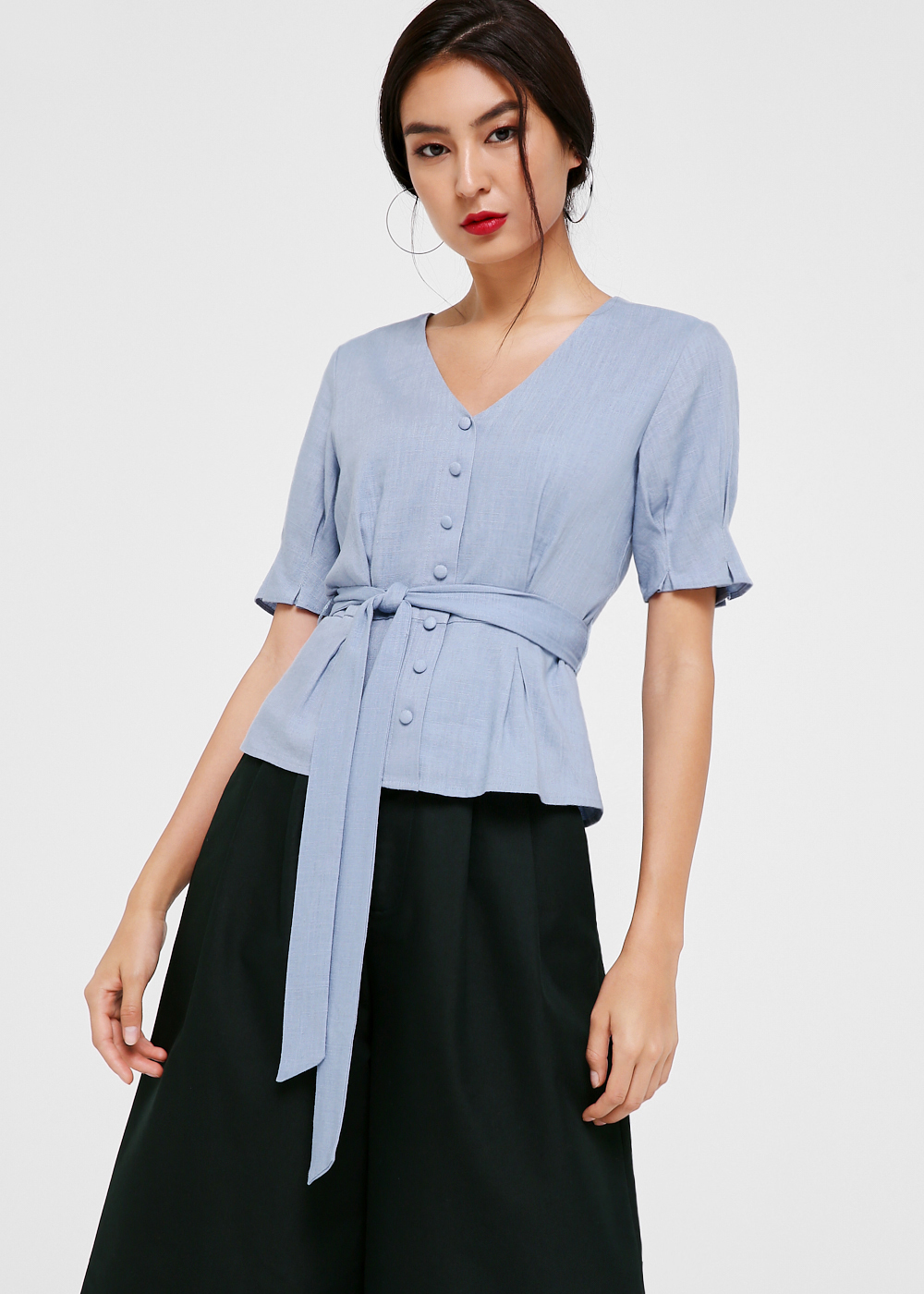 Eloise Puff Sleeve Button Down Blouse