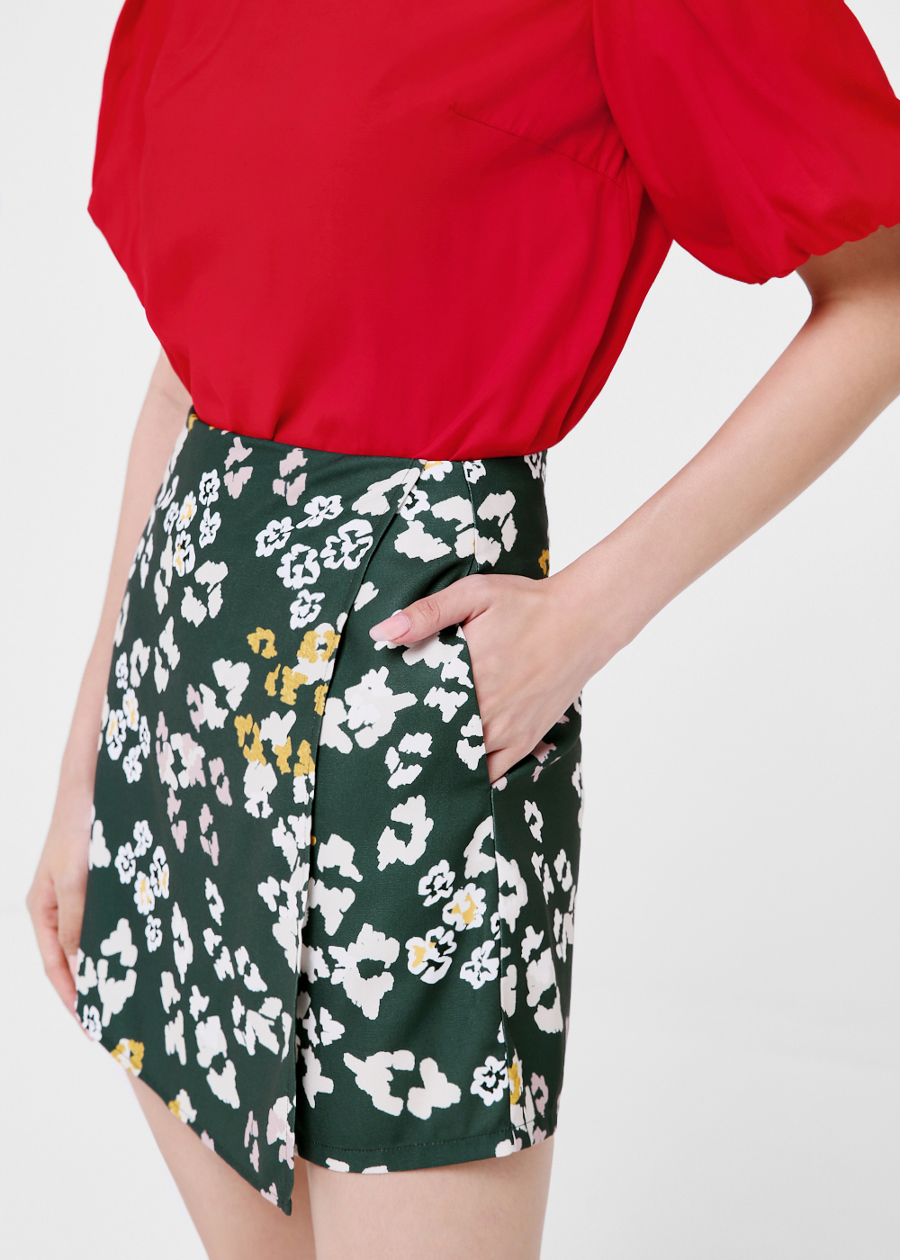 Valentina Printed Foldover Skort in Forest Bloom