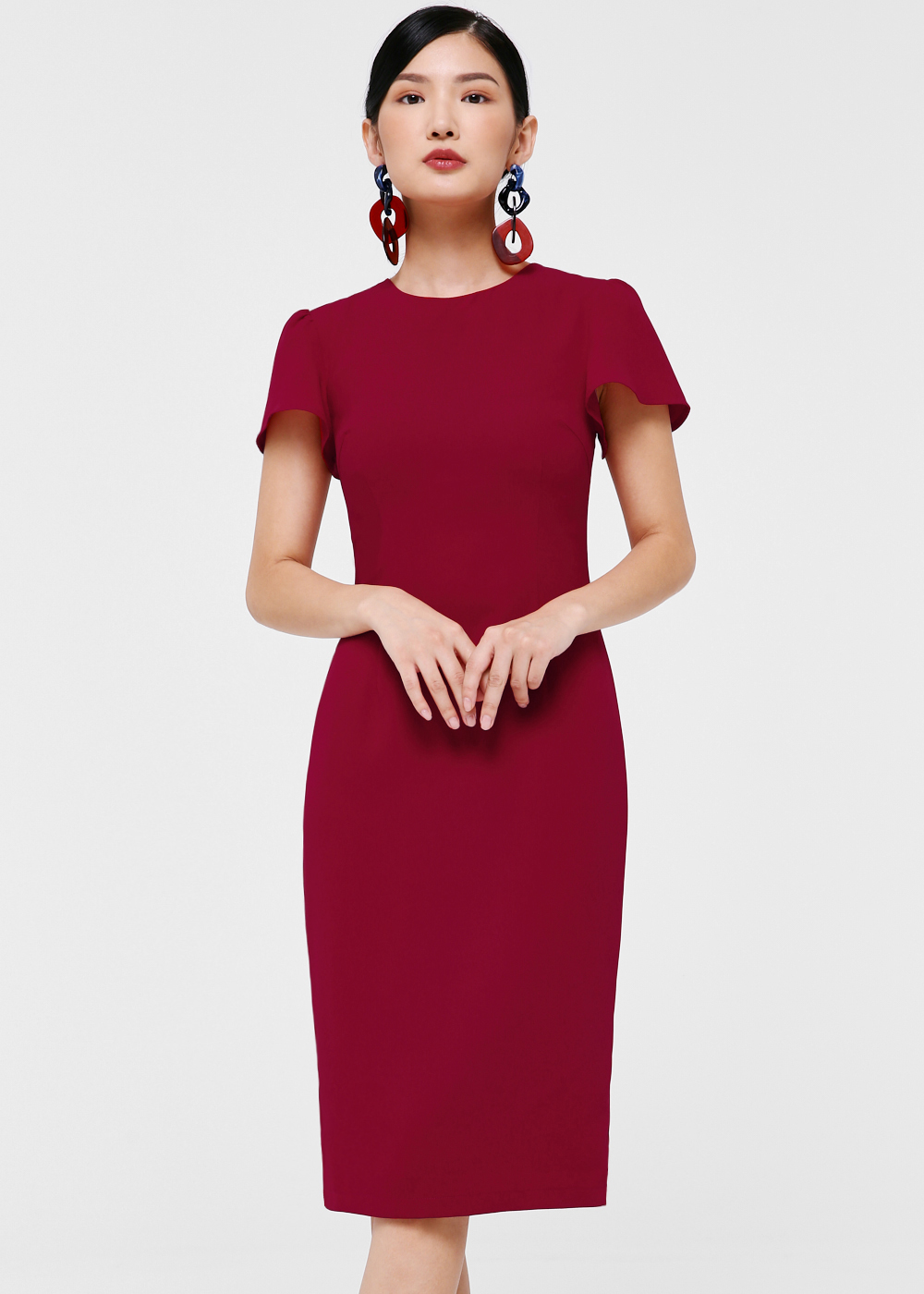 Dacia Flutter Sleeve Midi Dress