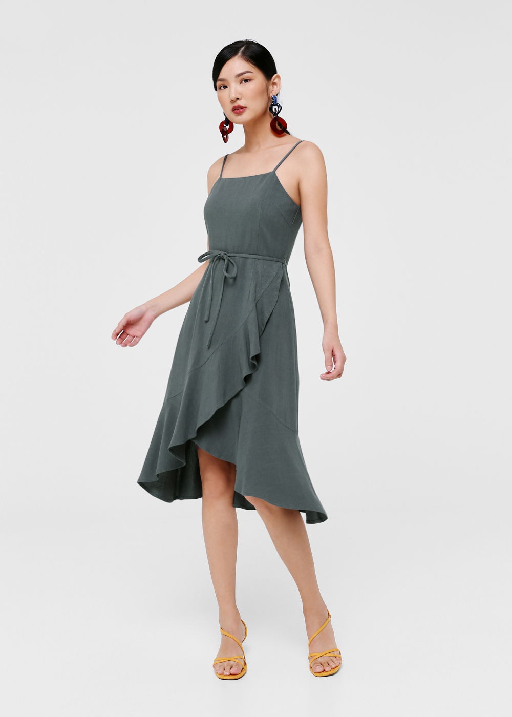 Galiana Ruffle Hem Midi Dress