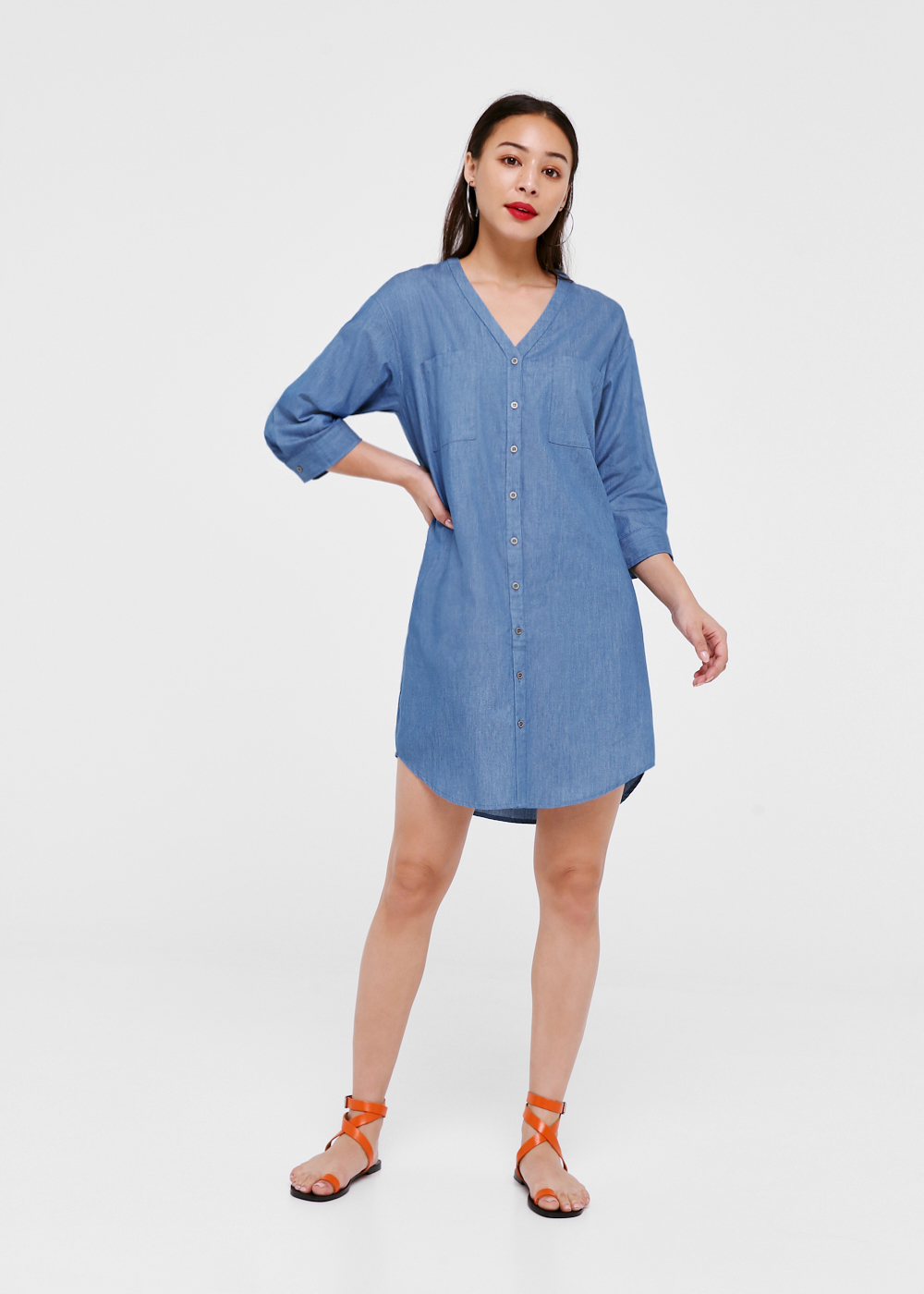 Bryleigh Curved Hem Denim Shirt Dress