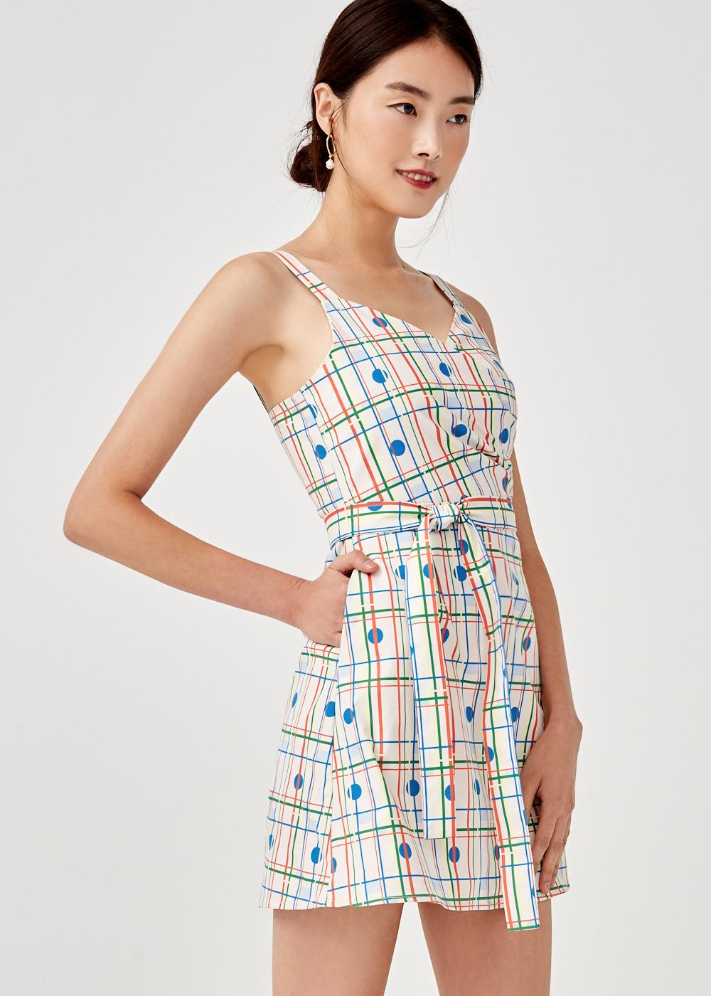 Adaline Crossover Sash Tie Dress in Rainbow Tile