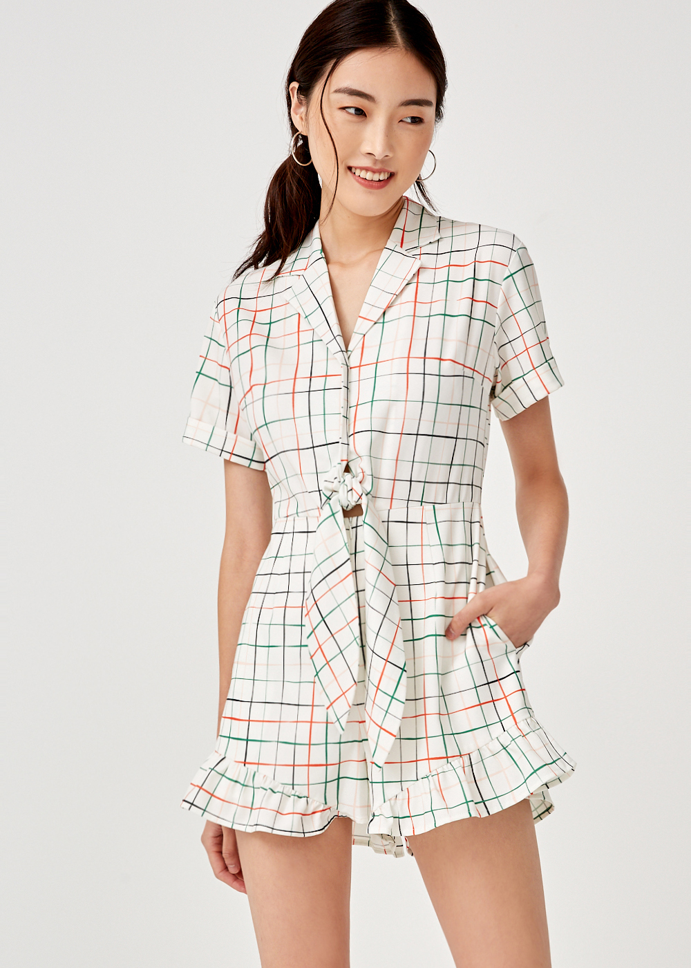 Anya Tie Front Romper in Sunburst Check