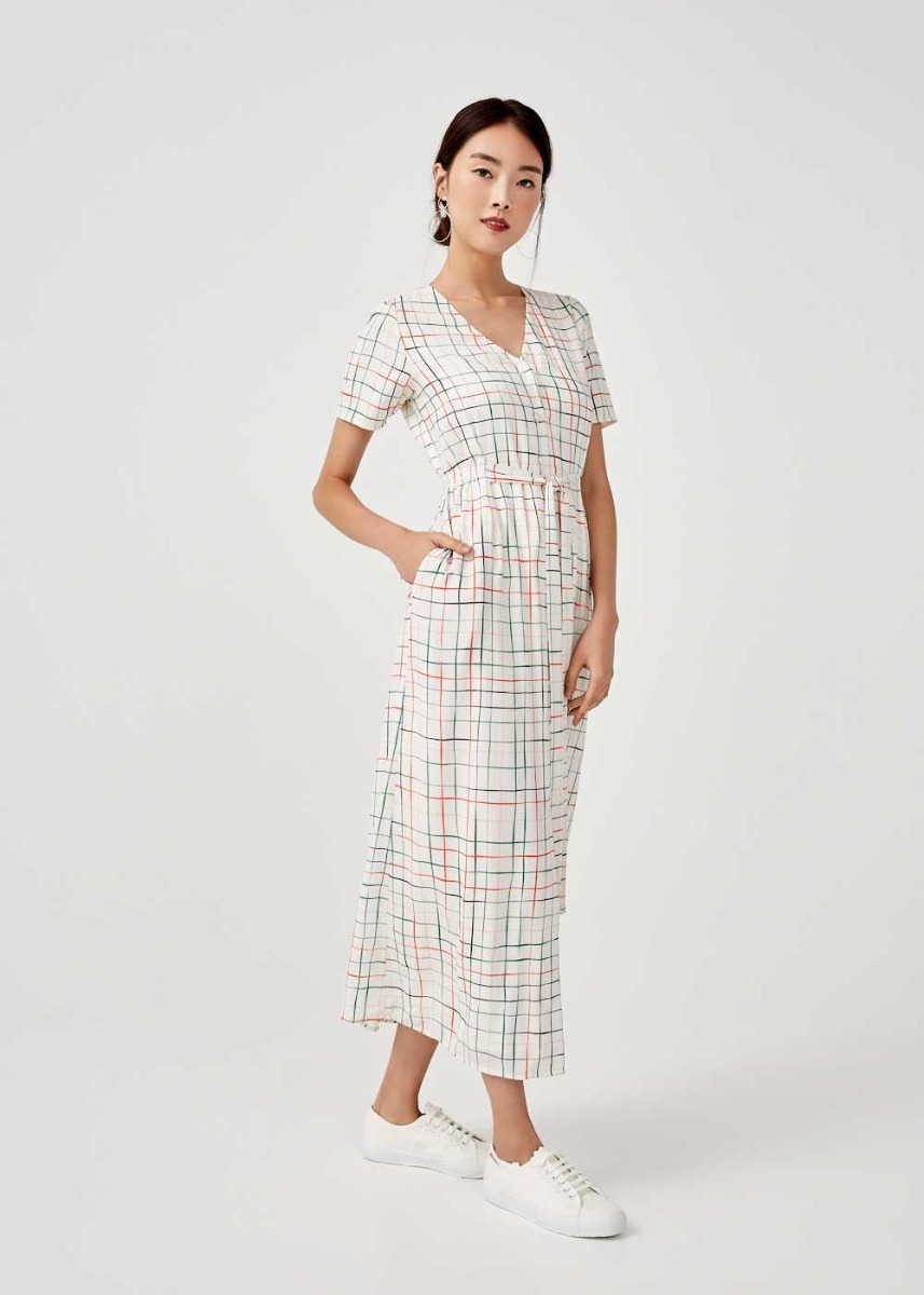 Eunice Tie Front Shirt Dress in Sunburst Check