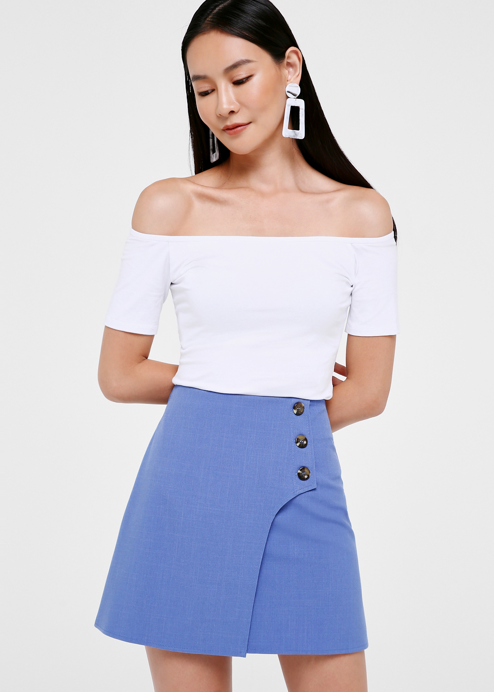 Cartia Button Front A-line Skirt