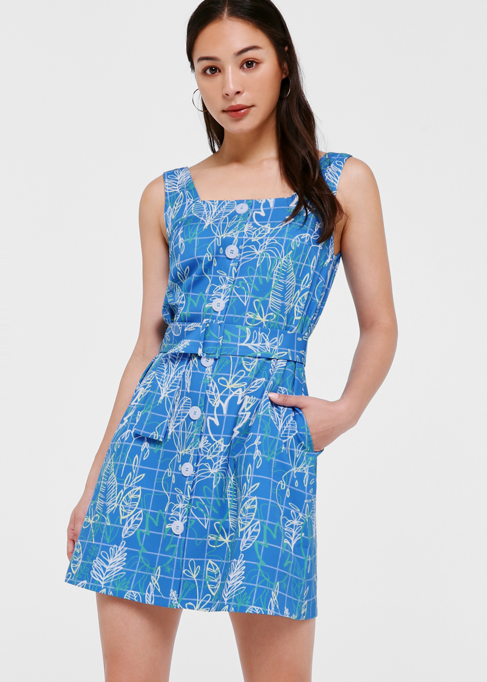 Elen Belted Shift Dress in Cerulean Leaves