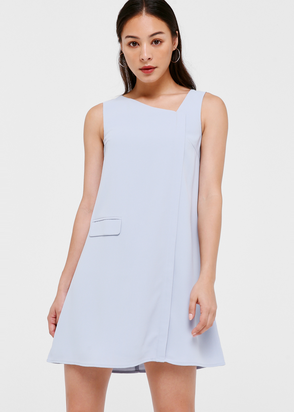 Chrisele Asymmetrical Neckline Shift Dress