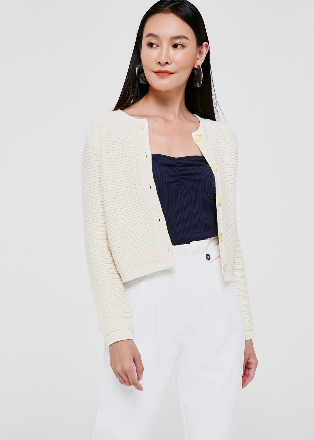 Corinne Ribbed Button Down Cardigan
