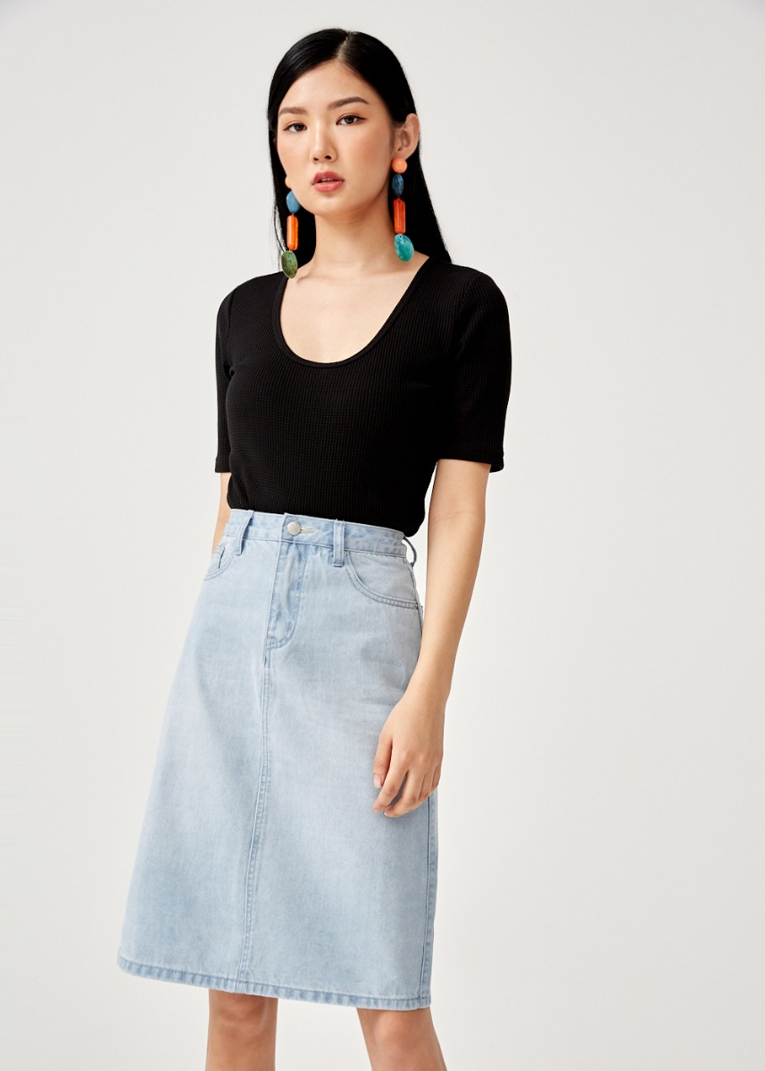 Vienna Denim Midi Skirt