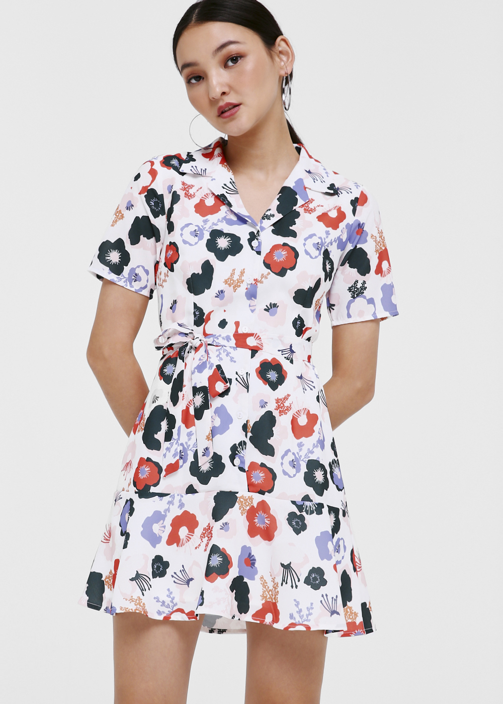 Kenia Sash Tie Shirt Dress in Anemone Bloom