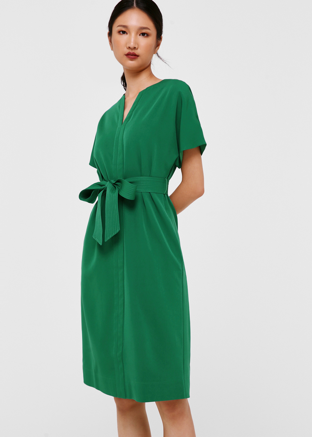 Brie Sash Tie Midi Dress