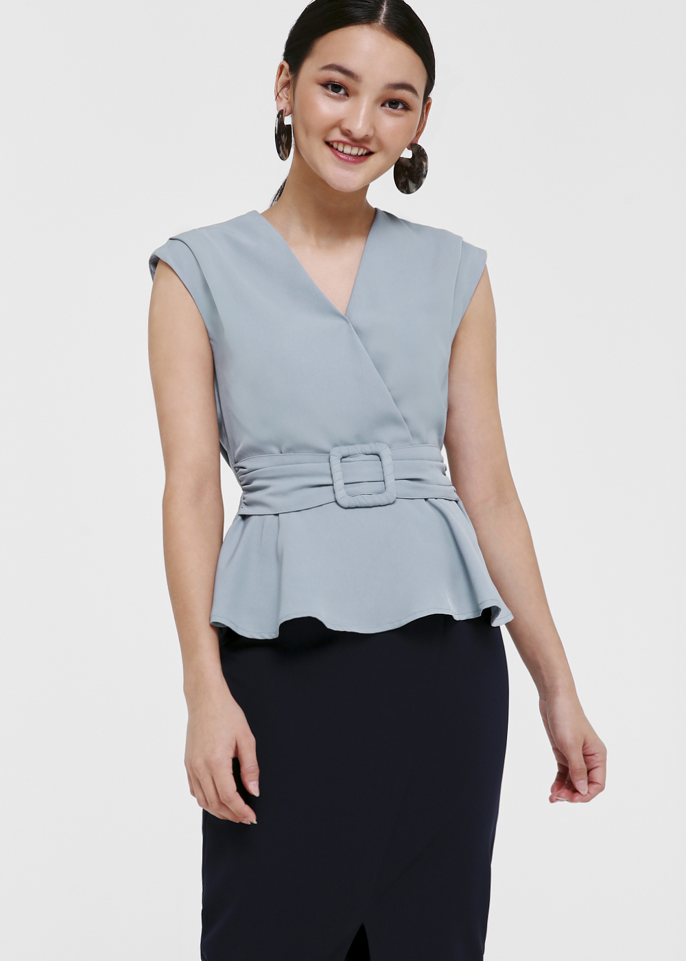 Katrielle Belted Peplum Blouse