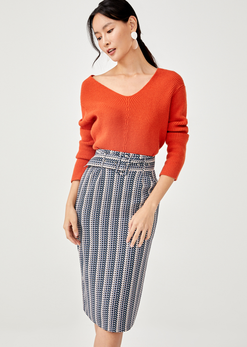 Venetta Belted Pencil Skirt