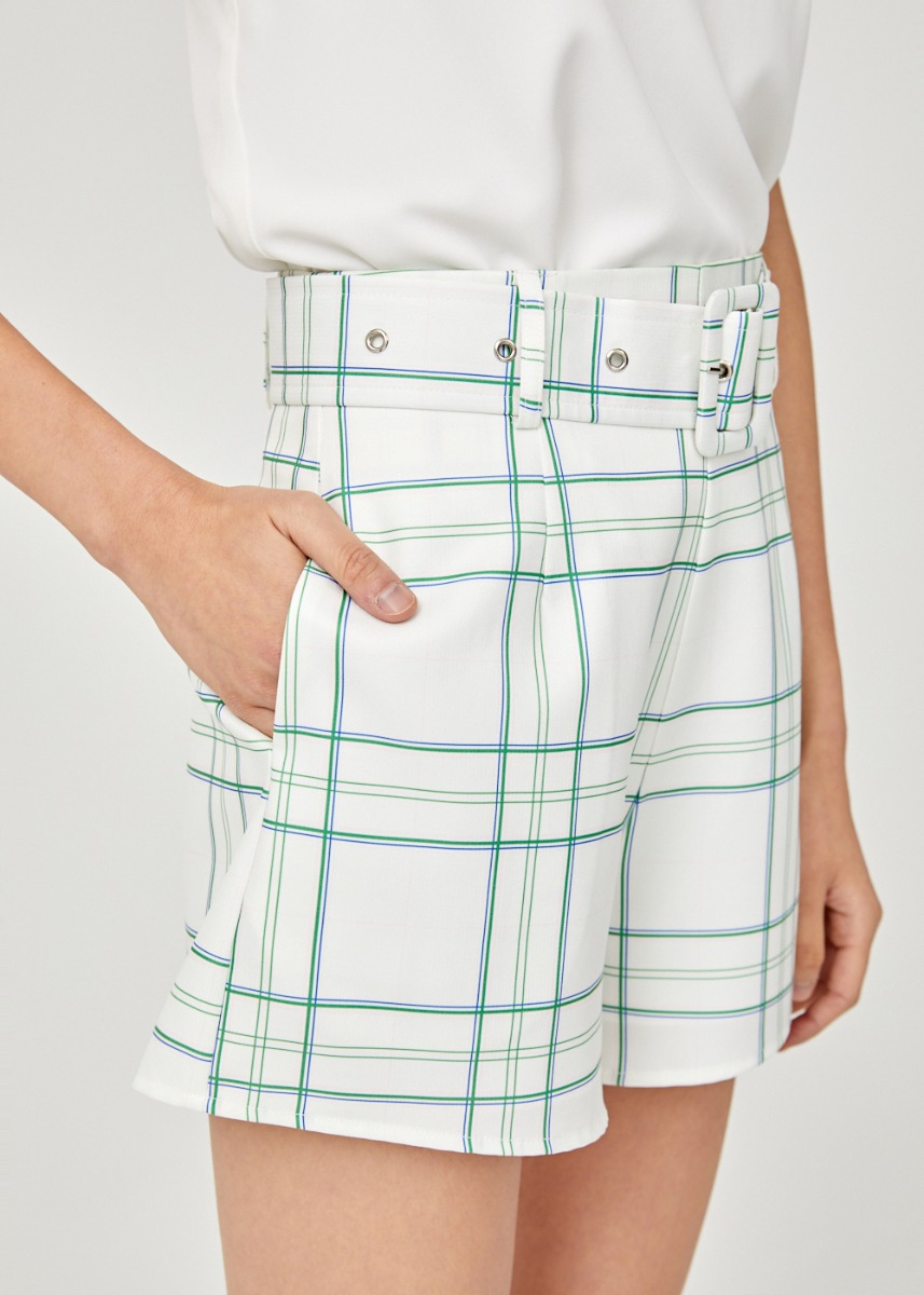 Anitta Belted High Waist Shorts in Vintage Plaid