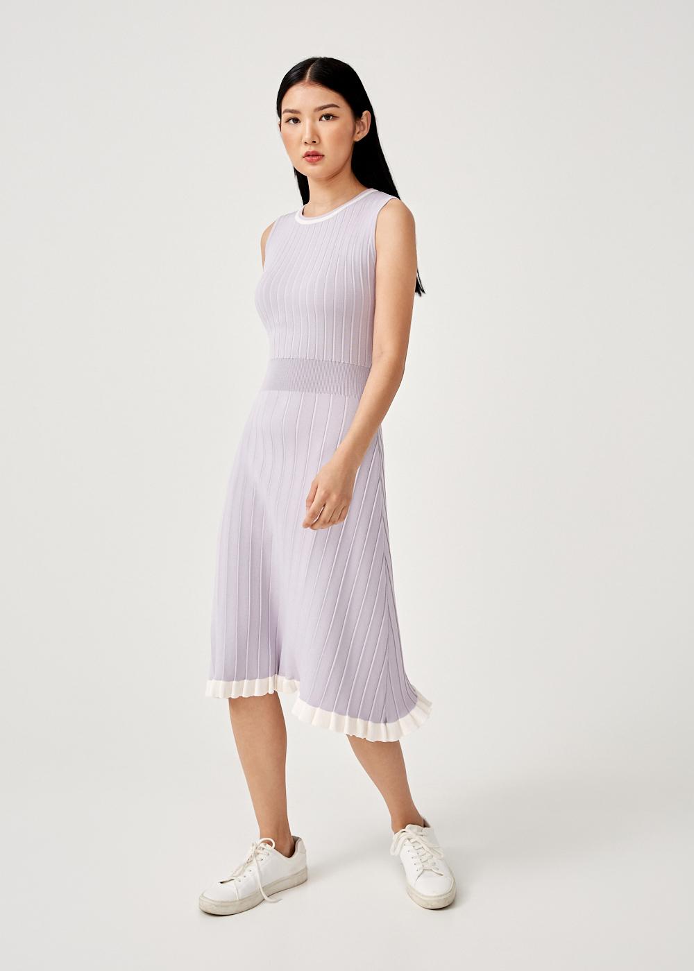 Flavia Pleated Knit Midi Dress