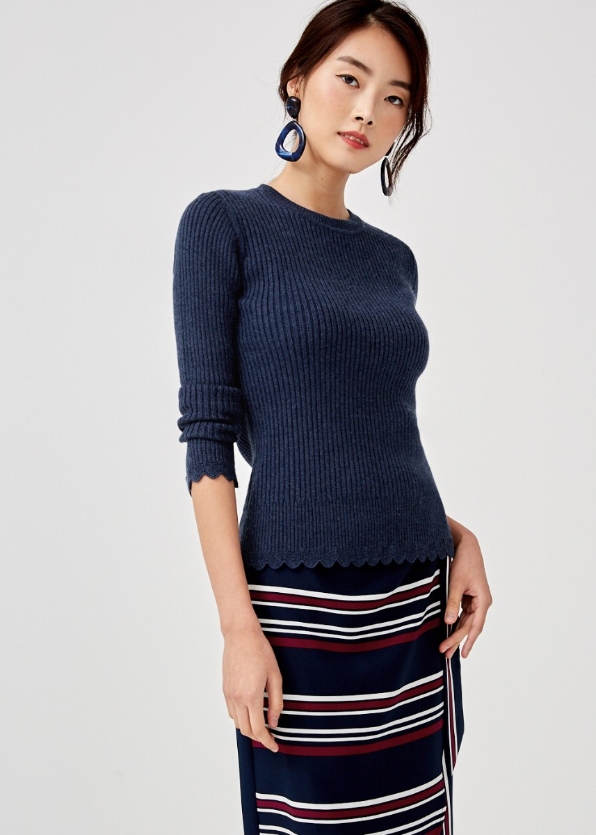 Analia Scallop Hem Knit Sweater