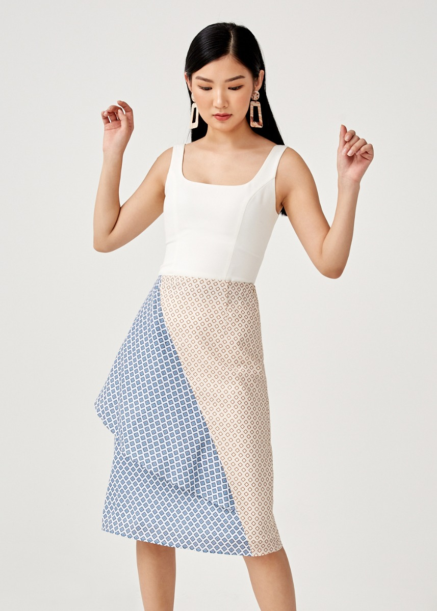 Poppy Foldover Midi Skirt in Moroccan Reverie