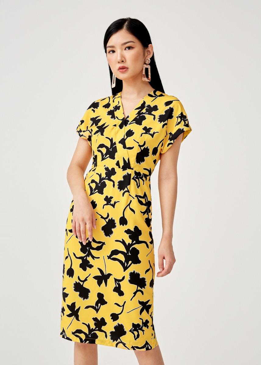 Aldina Printed Pencil Dress in Flora Mirage