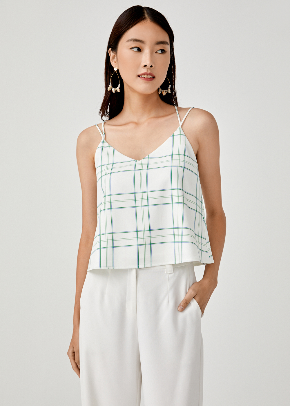 Dinis Cross Back Camisole in Vintage Plaid