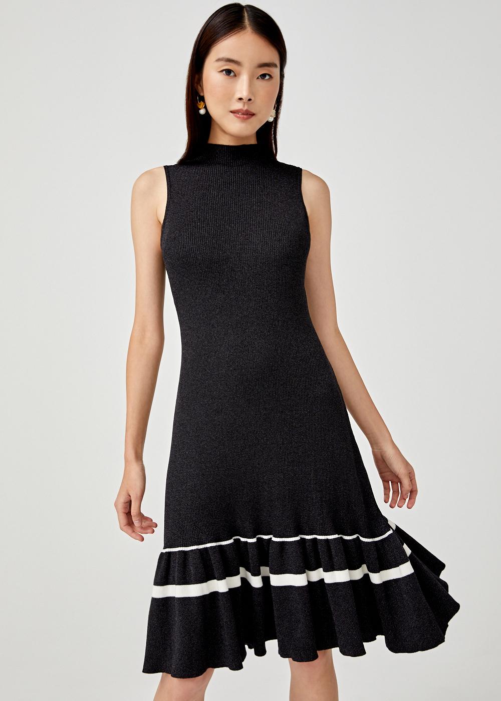 Lalyn Knit Ruffle Hem Dress