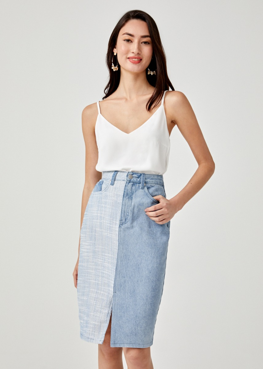 Brooklyn Mixed Fabric Midi Skirt