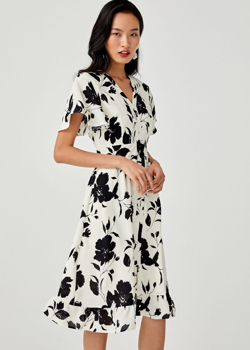 Jaime Ruffle Hem Midi Dress