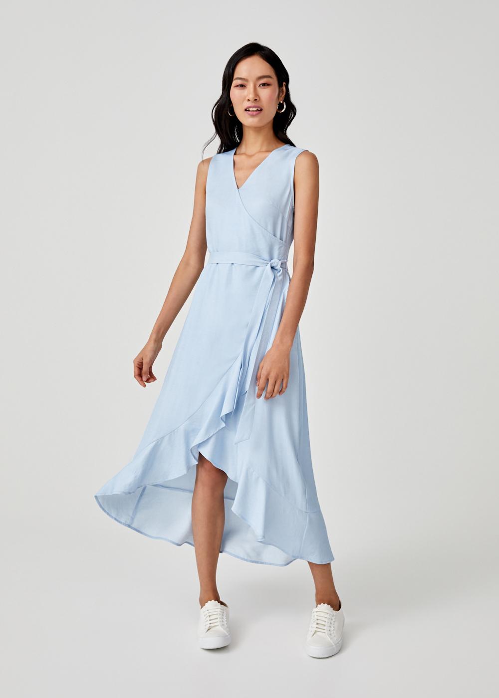 Aubree Sash Tie Cascade Ruffle Dress