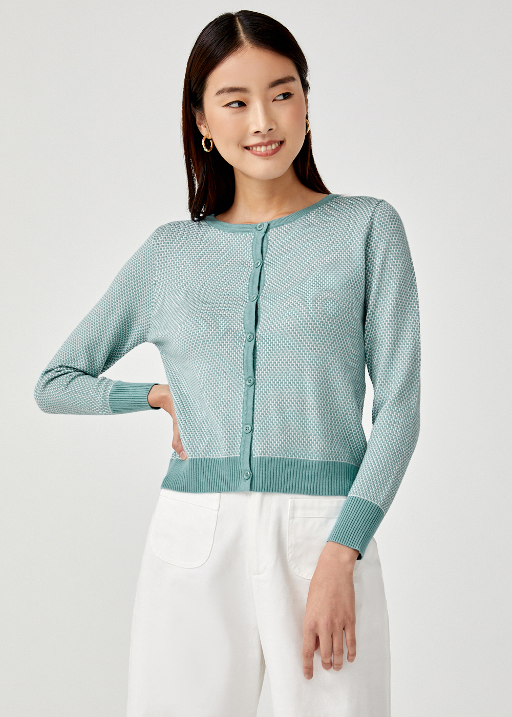 Pamelia Contrast Piping Knit Cardigan