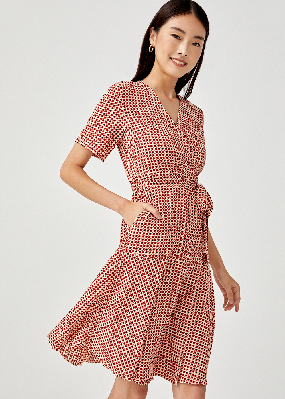 Elaina Printed Sash Tie Midi Dress