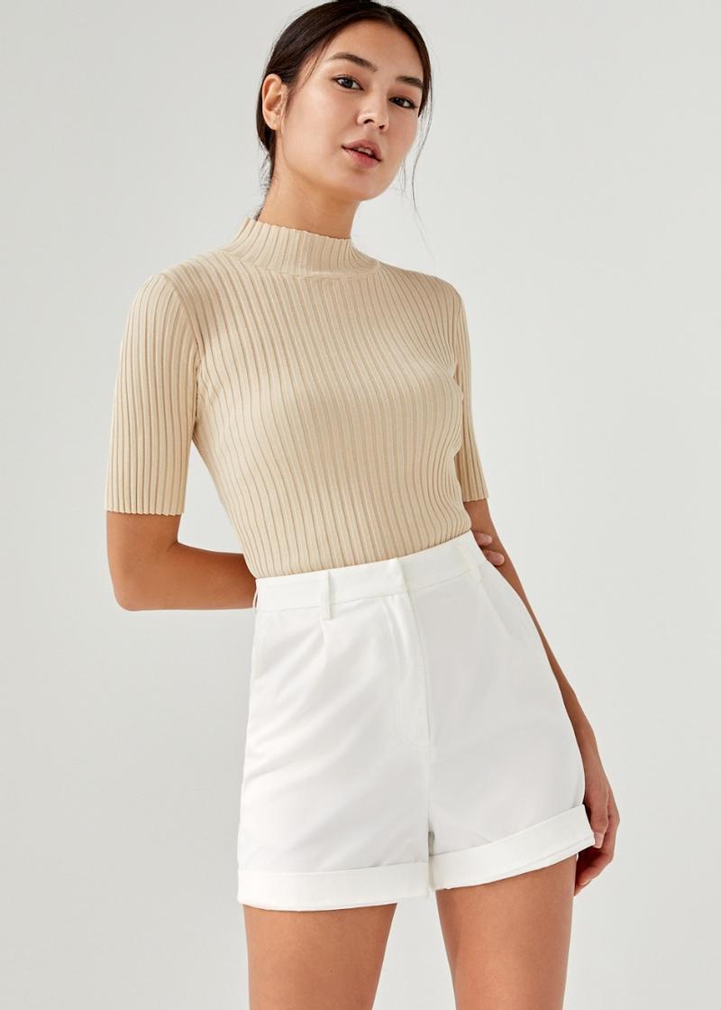 Gaelle Knit Mock Neck Top