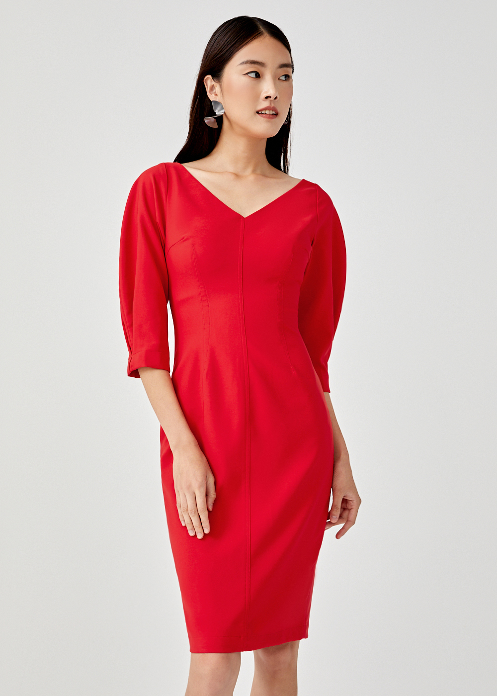 Kezaiah Puff Sleeve Pencil Dress
