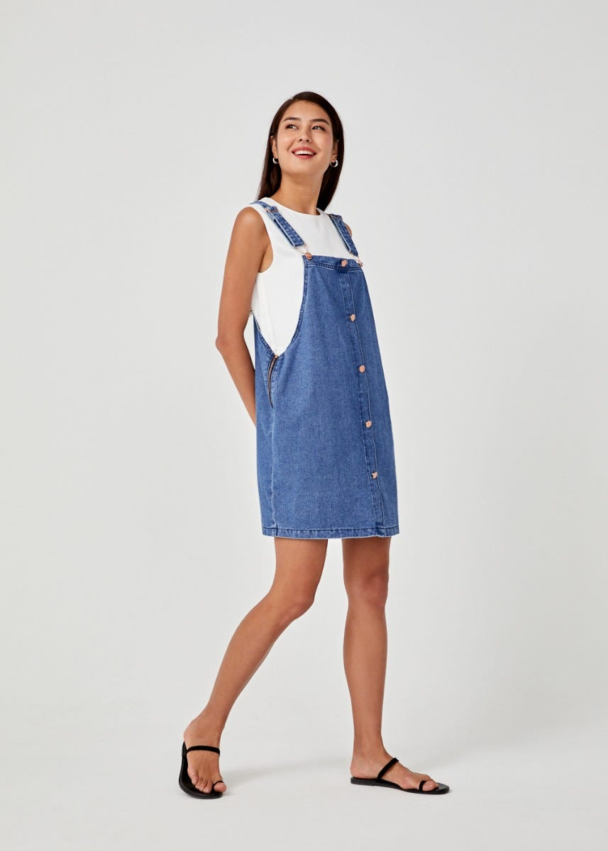 Ynez Denim Dungaree Dress